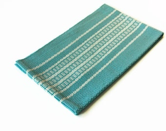 Handwoven Cotton Dish towel, Hand Hemmed Dusty Teal dishtowel hand woven