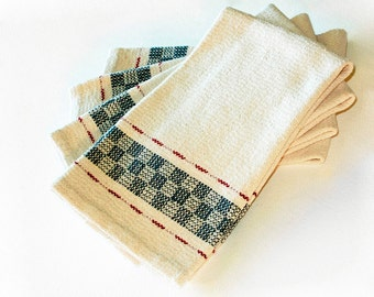 Dish towel Handwoven Cotton, Hand Hemmed  Kitchen Towel Blue Red White dishtowel hand woven
