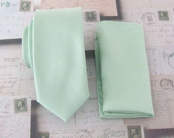 Mens Ties. Dusty Mint JCrew Inspired Dusty Shale Green Skinny Necktie. Wedding Ties with Matching Pocket Square Set