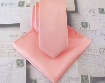 Mens Necktie Salmon Peach Skinny Necktie with Matching Pocket Square Set