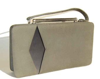 Vintage Mod Handbag Nicholas Reich Gray Suede Atomic Bag Purse