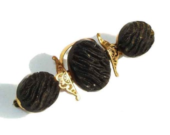 Victorian Mourning Brooch Antique French Jet Crepe Taille d'Epargne Enamel Pin