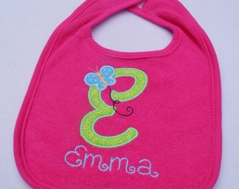 PERSONALIZED Butterfly Monogrammed Bib for Baby or Toddler!
