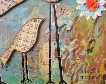 """Original Mixed Media Collage on Wood Panel """"The Birds"""""""