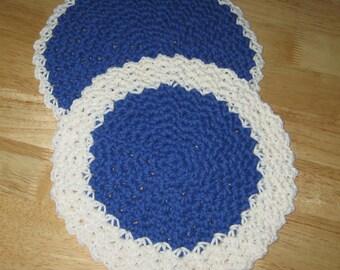 Crochet Cotton Round Dishcloth/Washcloth set of 2 Blue and White