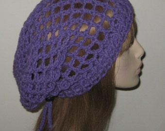 Lilac Mesh Slouchy Beanie Dread Snood Tam Hat