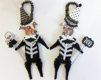 Italian Greyhound SKELETON Halloween vintage style CHENILLE ORNAMENTS set of 2