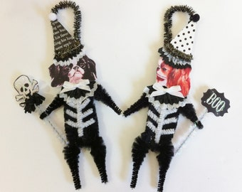 Japanese Chin SKELETON Halloween vintage style CHENILLE ORNAMENTS set of 2