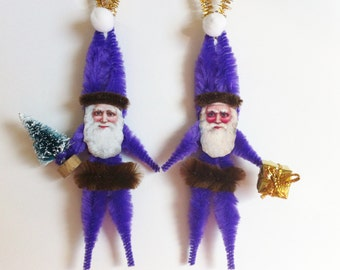 Purple Victorian SANTA CLAUS vintage style Christmas chenille ORNAMENTS set of 2