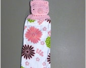 Hanging Kitchen Towel ,Crochet Button Top, Hostess Gift, Hanging Kitchen Towel ,Dish Cloth, Flowers