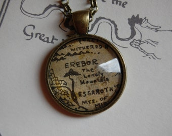 The Hobbit---Map of the Lonely Mountain Necklace