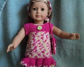 Doll Dress -Bright Pink Doll Dress, Headband and Purse Set - Fits American Girl Doll or 18 inch dolls
