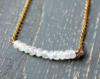 Moonstone Gold Necklace, Rainbow Moonstone Gem Necklace Vermeil Gold Chain Modern Design 14K gold filled beads