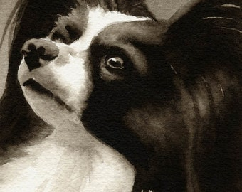 PAPILLON Sepia Art Print Signed by Watercolor Artist DJ Rogers