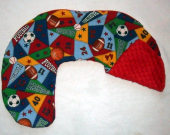 Sports and Red Minky Dot Nursing Pillow Cover Fits Boppy