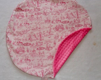 Pink Nursery Rhyme Toile and Hot Pink Minky Boppy Newborn Lounger and Boppy Cover Set