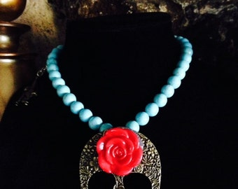 Day of the Dead Natural Turquoise with large Bronze Calavera Medallion Pendant with Red Rose Necklace Choker Design