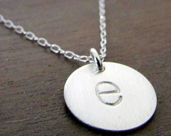 Silver Letter Necklace, Silver Initial Necklace, Lowercase Typewriter, Letter Charm 925 Sterling Silver, Chelsea Initial Necklace by E Ria