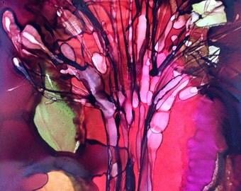 Tree Veil Original 7x5 Alcohol Ink Painting on Yupo
