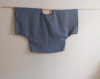 over size rustic heavy linen wide kimono sleeve top