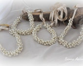 4 Bridesmaids Pearl Wedding Necklaces ,Satin Ribbon,Bridesmaids gifts,Bridesmaids Jewelry,