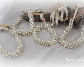 4 Bridesmaids Pearl Wedding Necklaces ,Satin Ribbon,Bridesmaids gifts,Bridesmaids Jewelry,