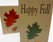 Happy Fall Stenciled Wood Block Set, Woodworking Seasonal, Autumn, Harvest, November, October, Oak Leaf, Halloween, Thanksgiving, Rustic