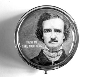 "Poe ""Take your meds"" Pill Box Case Stash Silver Medicine Case Edgar Allan pillbox"