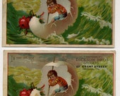 Pair Of Victorian Trade Cards - Egg Shell Boat In Storm - Fantasy - Late 1800s