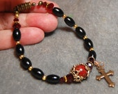 RESERVED Black Onyx and rich red Jasper Bracelet by HeartFelt Rosaries J