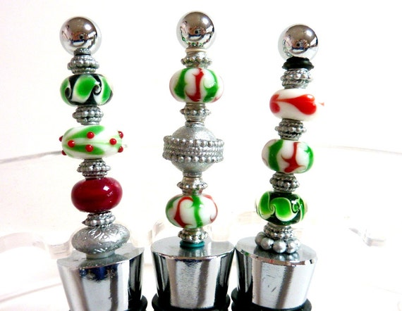 Items similar to christmas wine stoppers bottlestoppers