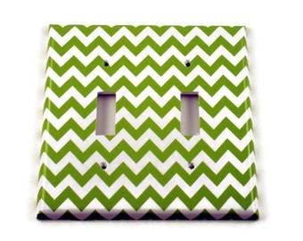 Double Light Switch Cover Switch Plate Wall Decor Switchplate in Green Chevron (200D)