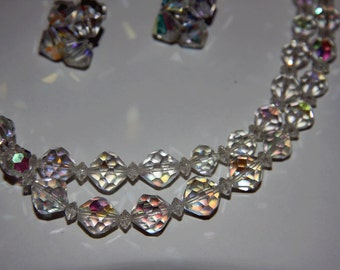 1940s Crystal Necklace and Clip Back Earring Set Wedding jewelry Bridal Necklace