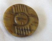Large VINTAGE Mottled Brown Casein Coat Button