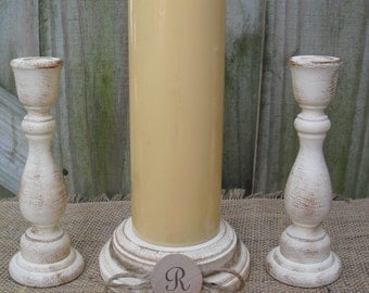Shabby Chic Wood Wedding Monogram Unity Candle Holder Set - You Pick Color - Item 1561
