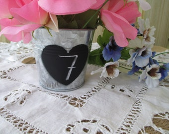 Rustic Tin Pail with Painted Chalkboard Heart - Flower Pot, Candy Container, Favor Bucket, Flower Girl Pail, or Candle Holder - Item 1610