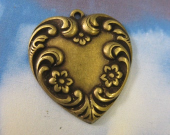 Heart Charms Floral Brass Ox Plated 422BOX x2