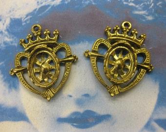 Antique Brass Ornate Heart and Crown Penedants 621GOL x2