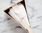 DELUXE Open Top Pie Slice Boxes in Kraft with Forks, Parchment + Classic Red/White Baker's Twine