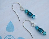 SALE - Sterling Silver Blue Swarovski Earrings - Turquoise Teal - Bella Mia Beads - READY to SHIP