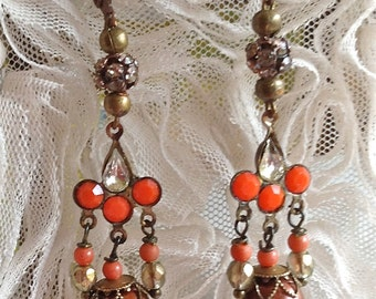 Lilygrace Deco Brass Earrings with Coral, Freshwater Pearls, Cultured Pearls and Vintage Rhinestones