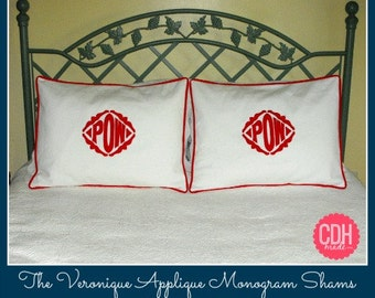 The Veronique Applique Framed Monogrammed King Shams - SET OF 2 - King 20 x 36