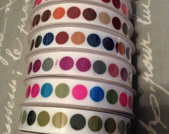 "Polka Dot Grosgrain Ribbon Spool- 5/8"" 3 yards"