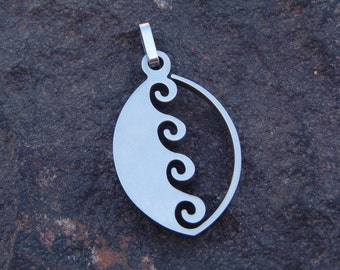 Pendant, Stainless Jewelry, Necklace Pendant, Vintage Bold Steel Wave Pendant