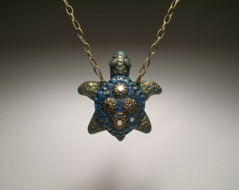 Blue Turtle Necklace -  Polymer Clay Jewelry