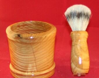 Hand turned ash shaving brush and mug set
