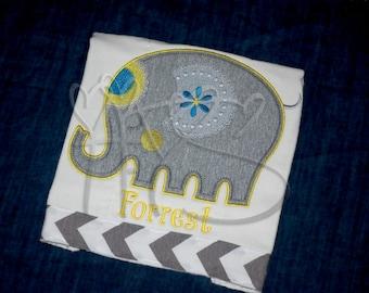 Personalized Elephant Burp Cloth with Grey Chevron Trim Keepsake YELLOW