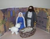 SALE   Hand knitted Christmas  Xmas Nativity Set