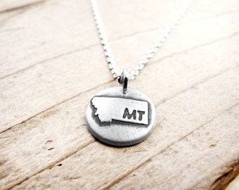 Tiny Montana necklace, silver state jewelry, silver map pendant