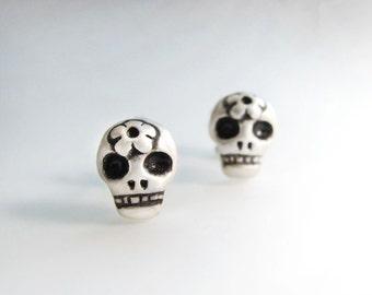 Very tiny skull post earrings, silver sugar skull earrings, day of the dead, dia de los muertos
